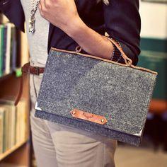 Felt Bag With Leather Handle - SPARROW BAG 914d6686aa