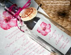 Painted Beach Bottle Wedding Invitations | My Personal Artist