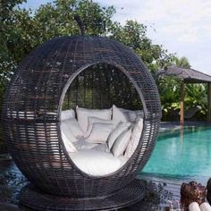 Unique Igloo Shaped Wicker Patio Daybed
