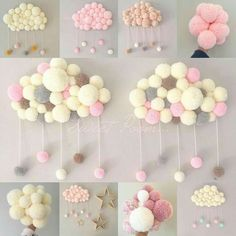 23 Clever DIY Christmas Decoration Ideas By Crafty Panda Pom Pom Rug, Pom Pom Wreath, Pom Poms, Baby Crafts, Diy And Crafts, Arts And Crafts, Pom Pom Crafts, Baby Decor, Diy Room Decor