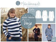 ★ meine VANJA ★ ist ein moderner Raglan-Hoodie mit mehreren Variationsmöglichkeiten: Pullover- oder Kleidlänge, Kapuze, XXL-Kragen oder schmales Bündchen, vordere Teilungsnähte oder aus einem...