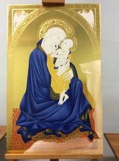 Sgrilli Madonna, Gold Leaf, Cloths, Catholic, Disney Characters, Fictional Characters, Mosaic, Aurora Sleeping Beauty, Spirituality