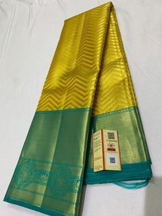 Fabric : Pure kanchipuram silk Knchipuram saree with pure jari and pure kanchisilk Colour :Golden and Green border Saree Length: Mtrs Blouse : Running blouse Wash Care: Dry Clean only Kanjivaram Sarees Silk, Mysore Silk Saree, Indian Silk Sarees, Kanchipuram Saree, Cutwork Blouse Designs, Pattu Saree Blouse Designs, Bridal Sarees South Indian, Wedding Silk Saree, Latest Silk Sarees