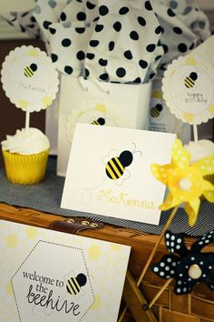 bumble bee party | Bumble Bee Party Pack with invitations toppers by theenglishpea