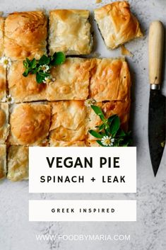 I have taken my love for my mother's spanakopita and put my Food By Maria vegan spin on it with this spinach and leek pie. I have taken my love for my mother's spanakopita and put my Food By Maria vegan spin on it with this spinach and leek pie. Vegan Pie, Vegan Foods, Vegan Dishes, I Foods, Vegan Meals, Vegan Dinner Recipes, Whole Food Recipes, Cooking Recipes, Vegan Recipes Spinach
