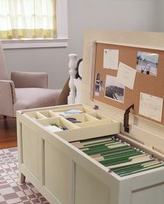 storage bench into a filing cabinet - for the office with a padded top for extra seating?