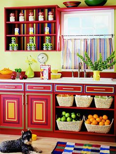 1000 images about interiors kitchens on pinterest for Brightly painted kitchen cabinets