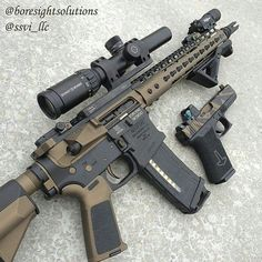 Mainly because it's standardized. Everything about this variant is a bit unique. Which is why I indeed like this rifle & pistol set Military Weapons, Weapons Guns, Guns And Ammo, Military Life, Armas Airsoft, Ar Build, Tactical Survival, Tactical Gear, Tactical Firearms