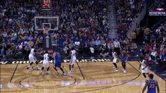 Stephen Curry nails a 3...and daps up New Orleans Pelicans assistant coach!