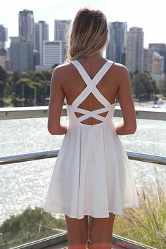 White Dress with Cross Open Back & Lace Bodice:
