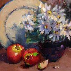 """Daily Paintworks - """"Daisies and Apples"""" - Original Fine Art for Sale - © Laurie Johnson Lepkowska Apple Painting, Fruit Painting, Still Life Oil Painting, Still Life Art, Still Life Photography, Fine Art Gallery, Lovers Art, Online Art, Daisies"""