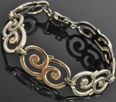 Symmetalic Vtg Sterling Silver 14K Yellow Gold Scroll Panel Link Chain Bracelet #Symmetalic #Chain