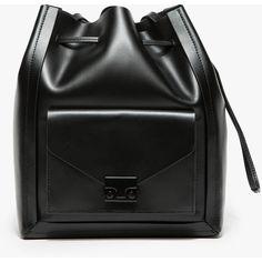 Loeffler Randall Lock Drawstring (1.384.260 COP) ❤ liked on Polyvore featuring bags, handbags, shoulder bags, black handbags, drawstring bucket bag, black bucket bag, black purse and leather shoulder handbags