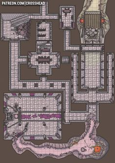 CrossheadStudios Dwarven Fortress Dungeon Battlemap for D&D, Dungeons and Dragons, Pathfinder, and other RPG games. Dungeon Room, Dungeon Maps, Dungeons And Dragons Game, Dungeons And Dragons Homebrew, Fantasy City, Fantasy Map, Dwarven City, Dwarf Fortress, Dnd World Map