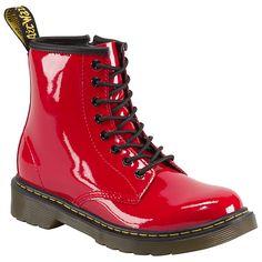 Buy Dr Martens Delaney Patent Boots, Red, 7 Jnr Online at johnlewis.com