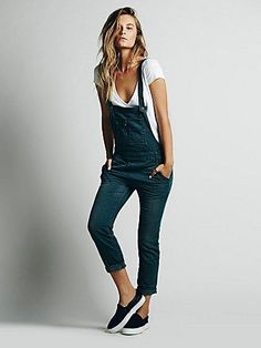 Free People Womens Washed Denim Overall More