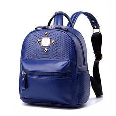 Girl Faux Leather Schoolbag Backpack Sathel Bookbag Rivet Women Shoulder Bag New #Unbranded #Backpack