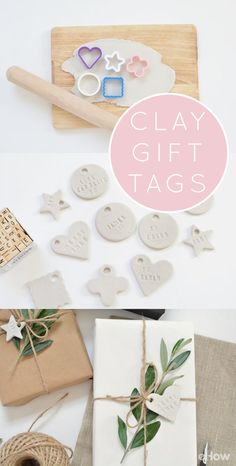 Wedding Gifts Diy - A simple tutorial for making personalized clay gift tags to decorate presents for your family and friends. Clay Christmas Decorations, Christmas Crafts, Paper Decorations, Xmas, Polymer Clay Crafts, Diy Clay, Cerámica Ideas, Gift Ideas, Ideias Diy