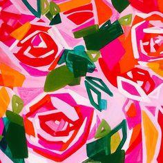 """Red Roses"" 24 x 24"" - abstract painting by Karlin Meehan www.karlinmeehanstudios.com"