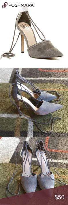 "Vince Camuto heels💕 Style is ""Nitta"" 💕leather upper💕 man-made lining and sole💕silver tone hardware 💕heel measures approx 4"" 💕 shoes can be tied 2 different ways please see pics 7&8 Shoes Heels"