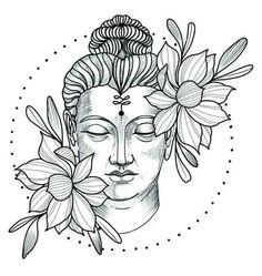 Pencil Art Drawings, Art Drawings Sketches, Tattoo Drawings, Body Art Tattoos, Hand Tattoos, Sleeve Tattoos, Buddha Tattoo Design, Buddha Kunst, Buddha Art
