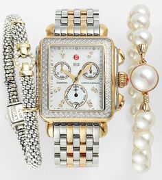 MICHELE Watch, Lagos Bracelet & Majorica Bracelet .♥✤ | Keep the Glamour | BeStayBeautiful