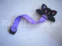 In The Hoop Bat Bookmark Machine Embroidery Design by KatieLDesigns. Perfect for Halloween!