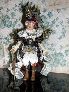 Steampunk Poseable Miniature Lady Doll by LoreleiBlu on Etsy, $100.00