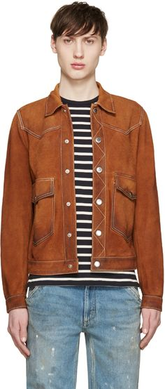 Dsquared2: Brown Suede Jacket | SSENSE