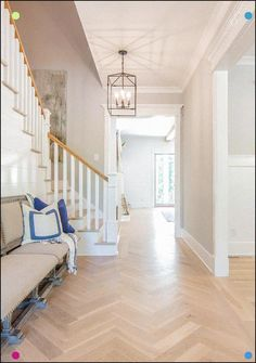 Shiplap: 'Shiplap' around stair wall Base: MDF (throughout the house). Crown: MDF Cove Casing: MDF with Plinth Blocks Pediment: Over all openings Home Interior Catalog, Decor Interior Design, Interior Decorating, Types Of Hardwood Floors, White Oak Floors, Elegant Homes, Style At Home, Home Decor Accessories, Home Decor Inspiration