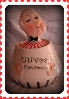 Vintage Holt Howard 1960 Olives Jar ❤ Please visit my Facebook page at: www.facebook.com/jolly.ollie.77