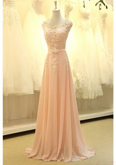 Gorgeous A-line Chiffon Floor-Length Appliques Long Evening Dress Prom Party Dresses(ED0657) - Simi Bridal