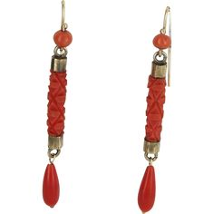 Coral Dangle Earrings Vintage 14 Karat Yellow Gold Estate Fine Jewelry Heirloom