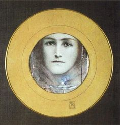 Brown Eyes and a Blue Flower by Fernand Khnopff :: artmagick.com