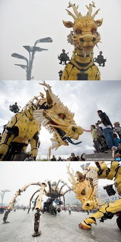 """""""Long Ma"""" fire-breathing dragon-horse (40 feet / 46-ton) in Beijing. Created by french artist François Delarozière & La Machine company for the 50th anniversary of diplomatic relations between China and France)."""
