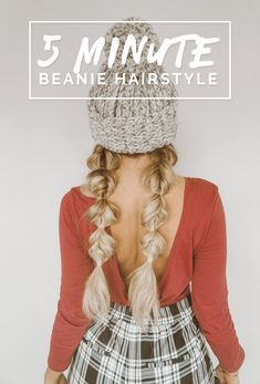 Tutorial: Winter Hairstyle With Beanie Beanie Hairstyles, 5 Minute Hairstyles, Cute Hairstyles For Medium Hair, Work Hairstyles, My Hairstyle, Pretty Hairstyles, Medium Hair Styles, Long Hair Styles, Hairstyles For Winter