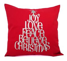 Christmas Pillow Cover  16 x 16 Inch Holiday by CastawayCoveDecor