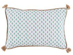 Dot Print Lumbar Tassel Pillow, throw pillow, polka dot pillow, Pattern pillow, Printed pillow with tassels, blue and tan trim pillow, toss pillow