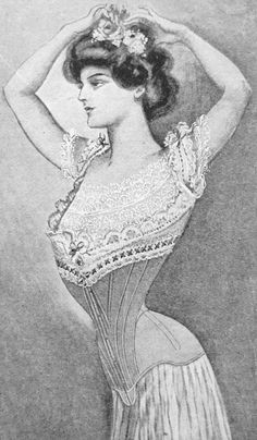 1900 to 1908. This style of corset had as many as 10-15 pieces of curved fabric needed on each side. In addition gussets, whalebone and steel were used to shape the body. Suspenders were now also attached to the corset itself. Check out this fascinating blog:http://fashioningnostalgia.blogspot.com/