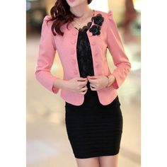 Double-Breasted 3D Floral Bow Tie Polyester Ladylike Style Puff Sleeves Women's Blazer - $14.24