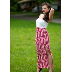 Red Nautical Long Skirt