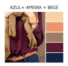 Azul, ameixa e bege. paleta de cores tendência 2017