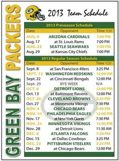 2013 Green Bay Packers Football Schedule Magnet   eBay