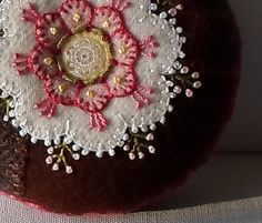 Handmade Pincushion Felted Wool White & Pink Flower Crazy Patch