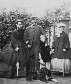 "Empress Marie Alexandrovna of Russia and Tsar Alexander II of Russia with two of their children, Grand Duke Sergei Alexandrovich Romanov and Grand Duchess Maria Alexandrovna Romanova of Russia (future Duchess of Saxe-Coburg and Gotha), 1864. ""AL"""