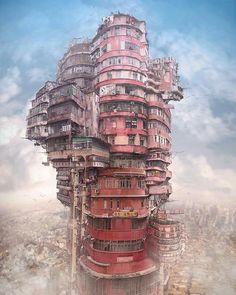 Environment Concept Art, Environment Design, Magie Bilder, Kowloon Walled City, Photomontage, Design Spartan, Conceptual Art, Future City, Sci Fi Art