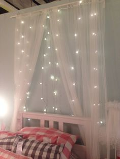 fairy light voile behind bed - Google Search Bedroom Decor On A Budget, Bedroom Decor For Teen Girls, Diy Living Room Decor, Rooms Home Decor, Bedroom Inspo, Home Bedroom, Kids Bedroom, Bedroom Ideas, Bunk Bed Decor