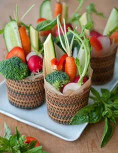 Pretty veggie appetizers.