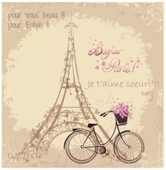 Bonjour Paris text with tower eiffel and bicycle. Romantic postcard from Paris. Vintage Paris, Paris Torre Eiffel, Paris Eiffel Tower, Thema Paris, Illustration Parisienne, Paris Kunst, Watercolor Card, Art Parisien, Vintage Wreath