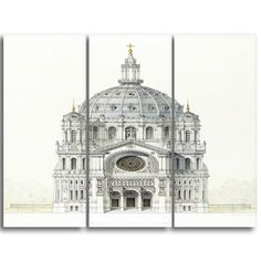 Design Art 'Victor Baltard - Church of Saint Augustin' Art Print - 28Wx36H Inches - 3 Panels